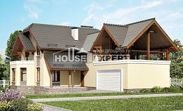 255-003-R Two Story House Plans with mansard roof and garage, big Architectural Plans