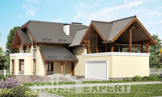 255-003-R Two Story House Plans and mansard and garage, modern Home Blueprints,