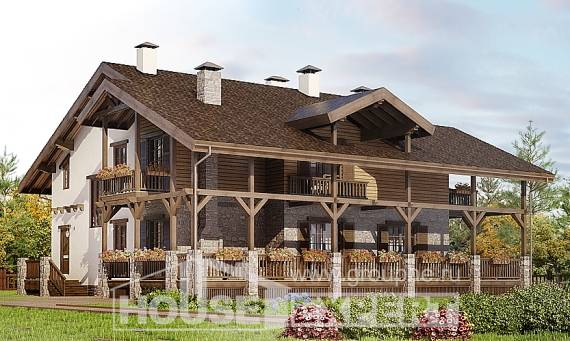 400-004-R Three Story House Plans with mansard roof with garage in front, cozy Cottages Plans,
