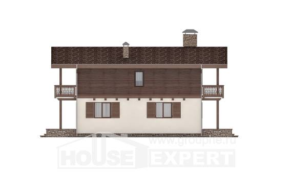 180-018-L Two Story House Plans with mansard roof with garage in back, economical House Online, House Expert