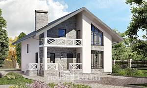 155-001-L Two Story House Plans with mansard and garage, modern Timber Frame Houses Plans