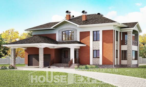 400-002-L Two Story House Plans and garage, luxury Plans Free