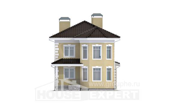 150-006-L Two Story House Plans and garage, compact Woodhouses Plans,