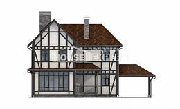 180-004-L Two Story House Plans and mansard with garage in front, modern Woodhouses Plans,