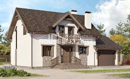 180-013-R Two Story House Plans with mansard roof and garage, the budget Timber Frame Houses Plans,