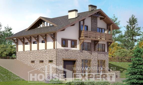 305-002-L Three Story House Plans and mansard and garage, big Woodhouses Plans