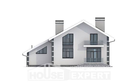 180-001-R Two Story House Plans with mansard roof with garage in back, small Plans Free,