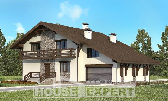 280-001-R Two Story House Plans with mansard roof and garage, cozy Floor Plan,