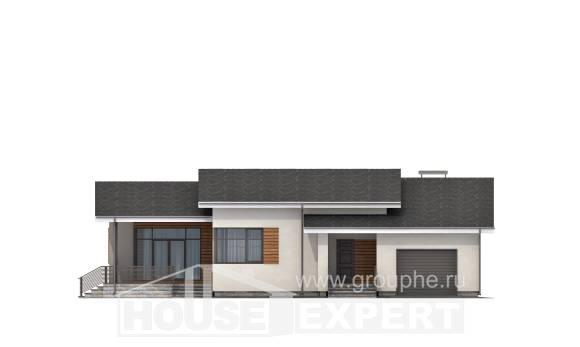 135-002-R One Story House Plans with garage in front, modern Blueprints,