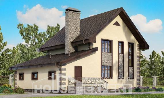 160-004-R Two Story House Plans with mansard and garage, small Planning And Design,