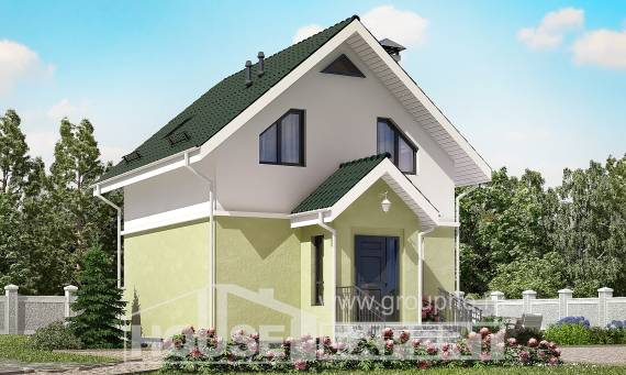 070-001-R Two Story House Plans with mansard, little Floor Plan,