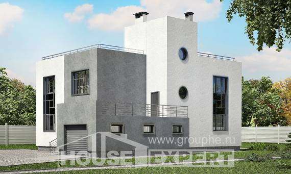 255-001-R Two Story House Plans with garage in front, big Blueprints of House Plans