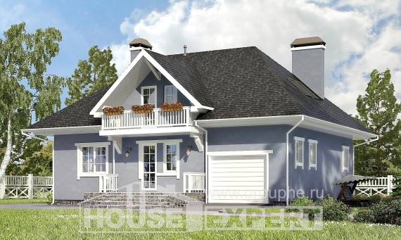 200-001-R Two Story House Plans and mansard with garage under, classic Woodhouses Plans, House Expert