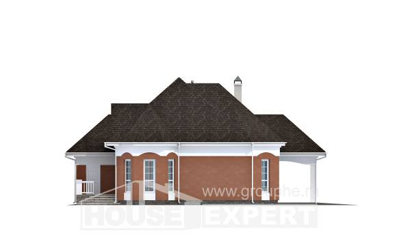 180-007-R Two Story House Plans with mansard with garage in front, the budget Ranch