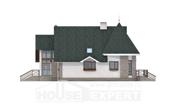 170-003-L Two Story House Plans and mansard, the budget Villa Plan, House Expert