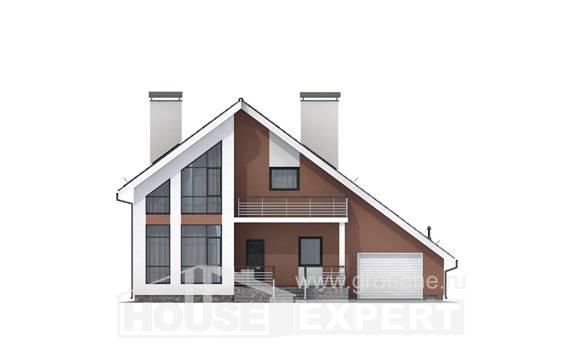 200-007-R Two Story House Plans and mansard and garage, cozy House Blueprints