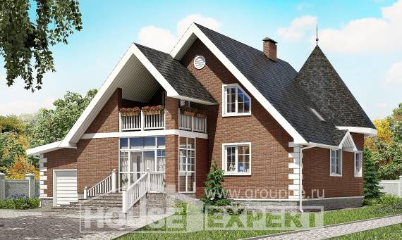 220-002-L Two Story House Plans with mansard with garage under, a simple House Online,