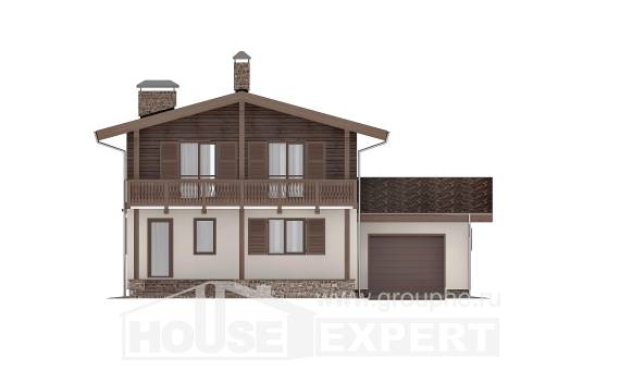180-018-L Two Story House Plans and mansard with garage in back, the budget Dream Plan, House Expert