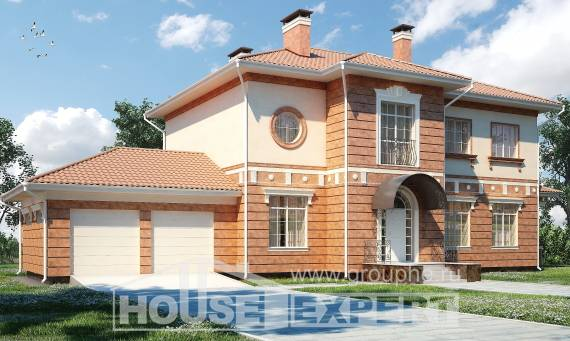 285-001-L Two Story House Plans with garage under, a huge Cottages Plans,