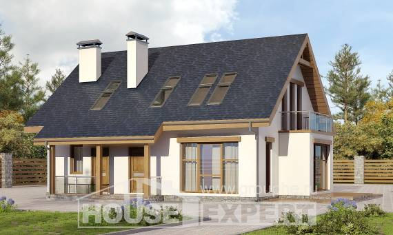 155-012-R Two Story House Plans with mansard, best house Custom Home Plans Online