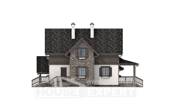 160-002-L Two Story House Plans with mansard roof with garage in back, beautiful Ranch,