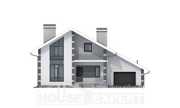 180-001-R Two Story House Plans with mansard roof and garage, inexpensive Plans Free,