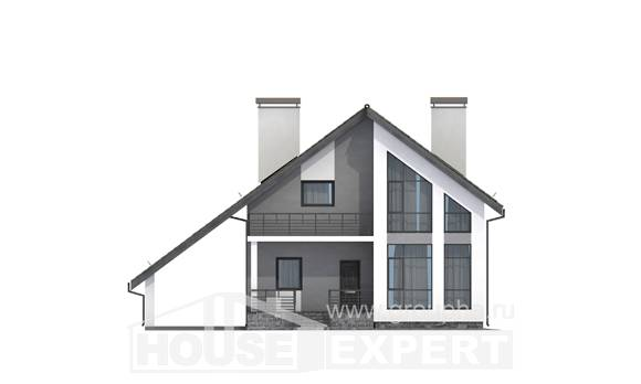 170-009-L Two Story House Plans and mansard with garage under, economical House Plans, House Expert