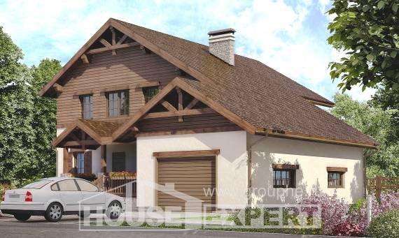 200-003-R Two Story House Plans and garage, classic Timber Frame Houses Plans,
