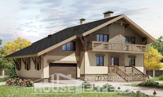 420-001-L Three Story House Plans with mansard with garage under, modern Construction Plans