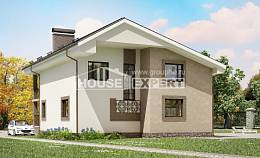 210-003-R Two Story House Plans with mansard roof, spacious House Plans,