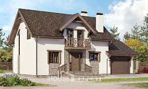 180-013-R Two Story House Plans and mansard and garage, the budget Drawing House