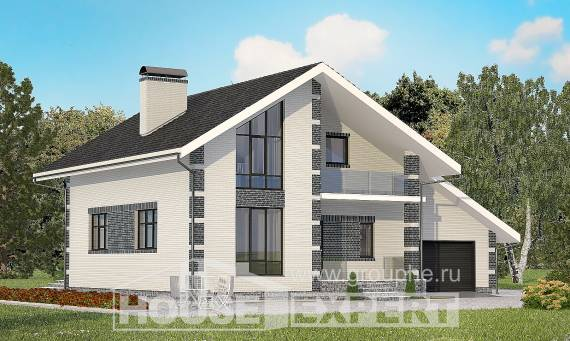 180-001-R Two Story House Plans with mansard roof with garage under, inexpensive Villa Plan,