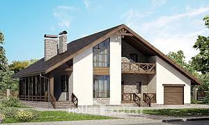 265-001-R Two Story House Plans with mansard with garage in front, classic Woodhouses Plans