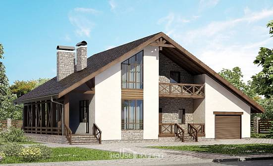 265-001-R Two Story House Plans with mansard roof with garage, classic Drawing House,