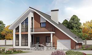 200-007-R Two Story House Plans and mansard with garage under, spacious Floor Plan