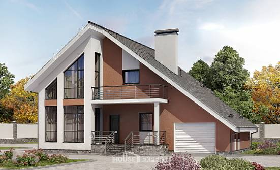200-007-R Two Story House Plans and mansard with garage under, best house Timber Frame Houses Plans,