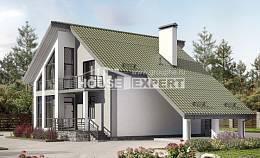 170-009-L Two Story House Plans and mansard with garage under, classic Plan Online, House Expert