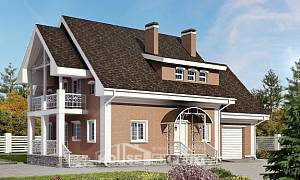 185-003-R Two Story House Plans with mansard roof with garage under, best house Blueprints
