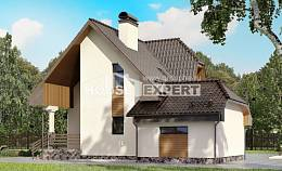 150-001-L Two Story House Plans with mansard roof with garage in back, inexpensive Home House,
