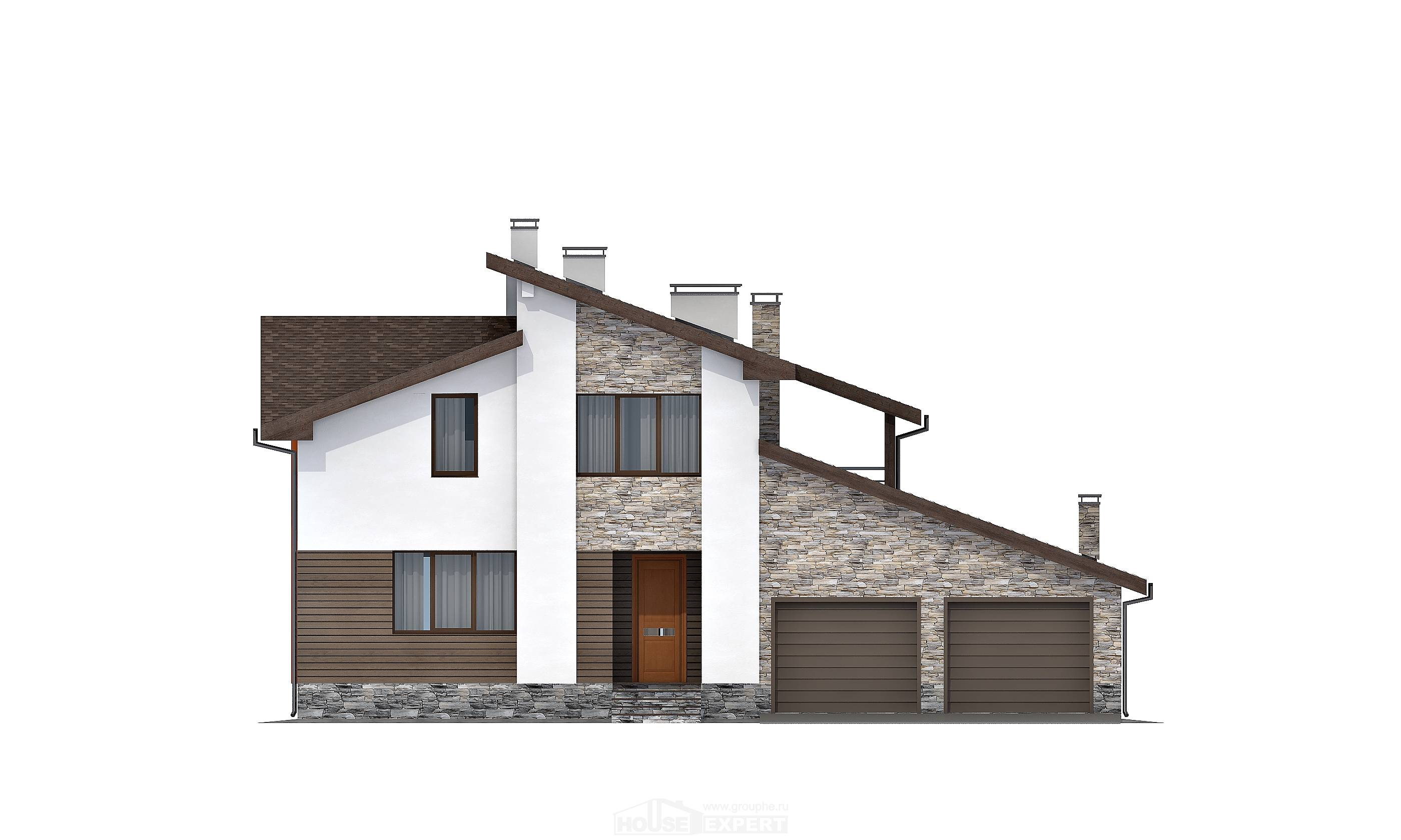 240-004-R Two Story House Plans with mansard and garage, luxury Home Plans, House Expert