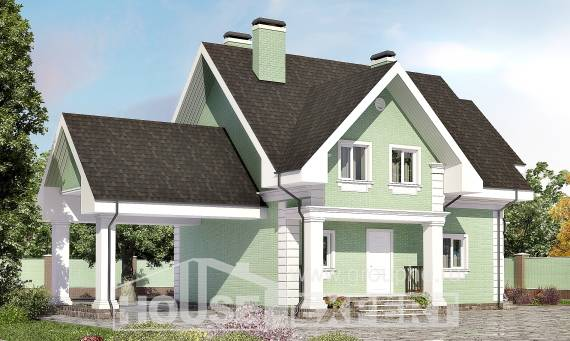 140-003-L Two Story House Plans with mansard roof and garage, modest Cottages Plans, House Expert