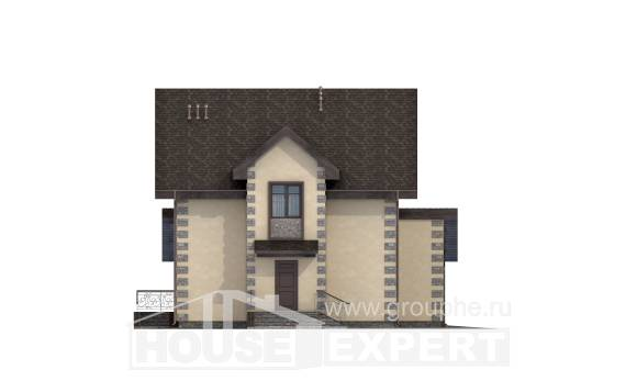 160-004-R Two Story House Plans with mansard with garage in back, the budget Cottages Plans,