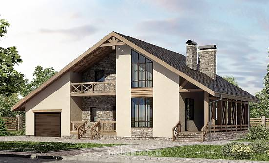 265-001-L Two Story House Plans with mansard roof with garage, modern Timber Frame Houses Plans,