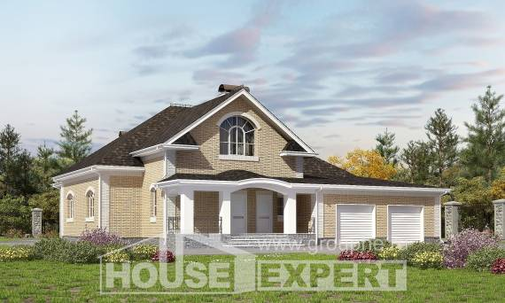 290-001-R Two Story House Plans with mansard roof and garage, cozy Plans Free, House Expert