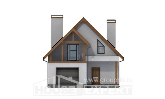120-005-R Two Story House Plans and mansard with garage under, beautiful Home Blueprints, House Expert