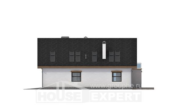 185-005-R Two Story House Plans and mansard with garage under, beautiful Villa Plan,