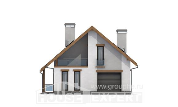 185-005-R Two Story House Plans with mansard with garage in front, best house House Blueprints,