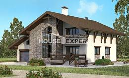 280-001-R Two Story House Plans with mansard roof with garage in front, big Cottages Plans,