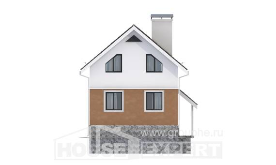 100-005-L Two Story House Plans with mansard roof, compact Design House