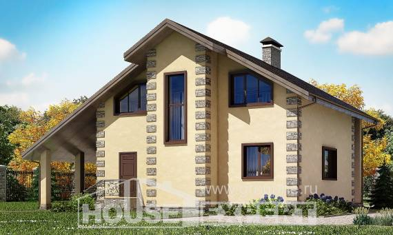 150-003-R Two Story House Plans with garage in back, modest Villa Plan,